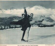 ICE FIGURE SKATING. Mr. C.E. Thaell & Miss Rona Thaell, Pontresina 1935 print