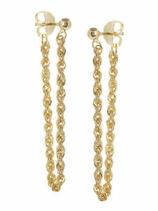 14k Yellow Gold Front Back Design Earrings with Ball Post and Rope Chain