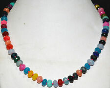 """5x8mm Faceted Multicolor Jade Abacus Gemstone Necklace 18 """""""