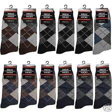New Lot 12 Pairs Mens Argyle Pattern Dress Socks Cotton Multi Color Size 10-13