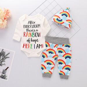 3Pcs Set Cute Infant Baby Kid Girls Rainbow Top Romper Pants Hat Outfits Clothes