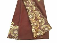 Om Vintage Long Dupatta Art Silk Zardozi Work Brown Scarves Veil Hijab AD-1460