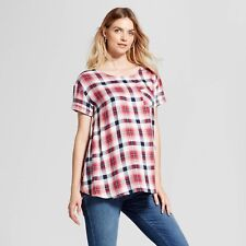 Isabel Maternity Short Sleeve Red Plaid Top