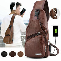 US Men's Shoulder Bag Sling Chest Pack USB Charging Sports Crossbody Handbag