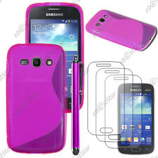 Housse Etui Coque Silicone Violet Samsung Galaxy Ace 3 S7270 + Stylet + 3 Films