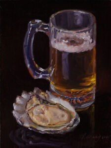 daily painting original still life realism oyster beer 6x8 Youqing Wang fine art