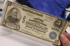 New York NYC $5 Dollars Chase National Bank Large Size National Currency 1902