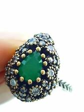 TURKISH EL SULTAN JEWELRY STERLING SILVER HANDMADE EMERALD RING Size 9 R2307