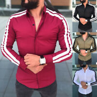 Luxury Men's Long Sleeve Striped Casual Shirts Slim Fit Dress Tops Formal Shirt