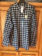 Carhartt Hamilton Rugged Flex Flannel Shirt Mens 4 XL Reg Long Sleeve Navy Gray
