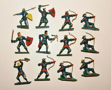 Vintage STARLUX Medieval Foot Knights BLUE Infantry Plastic Toy Soldiers 1:32