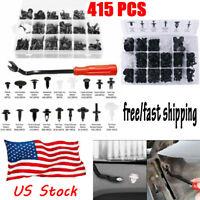 415PCS Plastic Rivets Fastener Fender Car Bumper Push Pin Clip Free Remover Tool