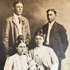RPPC Postcard Two Couples Childress Texas Cee Vee Velox 1907 to 1914 Gibson Girl