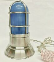 Reproduction Ships Bulkhead Passageway 3-Way Touch Lamp - Blue / Stainless Steel