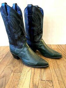 Mint: Justin Women's Black Green Lizard Cowboy Western Boot T6346 ~ Size US 8.5