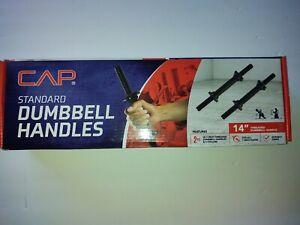 """CAP 14"""" Threaded Standard Dumbbell Handles Set (2) 1"""" Black - Brand New!"""