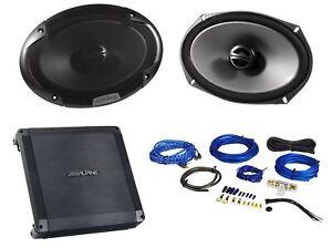 """2) Alpine SPE-6090 6x9"""" 600 Watt Car Audio Speakers+2 Channel Amplifier+Amp Kit"""