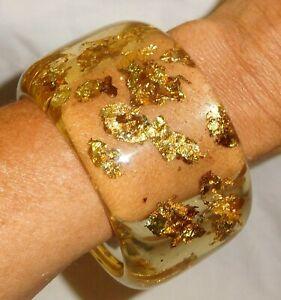 Sobral Metallique Afrodite PB50 Gold & Clear Bangle Bracelet Brazil Import