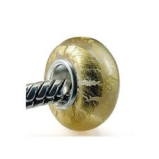 Everbling Golden Foil Murano Glass Bead 925 Sterling Silver Solid Core Charm