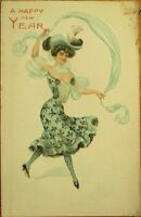 Beautiful Woman, Embossed, Color-Litho 1903 New Year Postcard