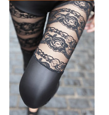 Sexy Black Stretch Women PU Leather Leggings Bandage Floral Lace Mesh Pants