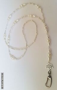 Silver & Pearls ID Badge Holder Beaded Lanyard Fashion Necklace, Christmas Gift