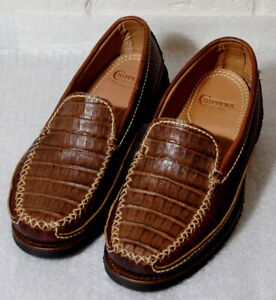 *Chippewa American Cognac Caiman and Peanut Bison Leather Loafer 30200 Men's 10W
