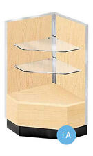 90 Degree Corner Display Case in Maple 38H x 20D x 20W Inches with Metal Frame