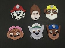 PAW PATROL Main CHARACTERS X 6 Edible Fondant Cupcake CAKE TOPPERS APPROX 5CM