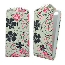 For Apple iPhone 4/4s White Pink Black Flower Swirl Glitter Flip Case Cover