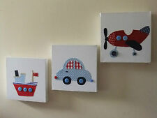 SET OF 3 RED BLUE CAR BOAT PLANE HANDMADE NURSERY CANVASES baby boy vintage