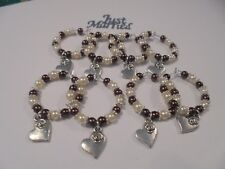 """10 Brown & Cream Wine Glass charms  """"heart charm with rose""""  Wedding Favour"""