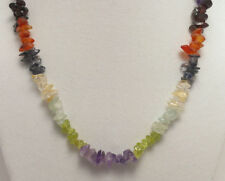 """*Authentic* India Multi Gemstone Chip Bead Crystal 18"""" Necklace #11"""