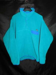 Patagonia XL Mens Light Blue Lightweight Synchilla Fleece Snap T Pullover Jacket