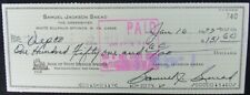 Sam Snead PGA Hall of Fame -1975 Hand Signed Personal Check Cancelled 149337
