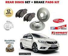 FOR NISSAN PULSAR 1.2 DIGT 1.5 DCi 2014-> NEW REAR BRAKE DISCS SET + PADS KIT