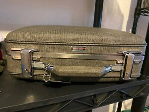 Vintage American Tourister Tiara Hard Shell Small Suitcase Gray Hipster Retro