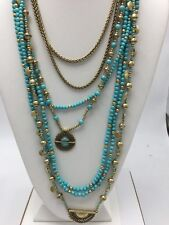 NWT Lucky Brand Gold-Tone and Blue Stone Multi-Layer Statement Necklace #L18