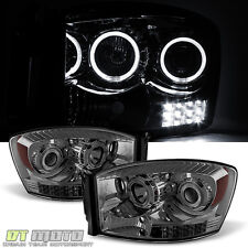 Smoke 2006-2008 Dodge Ram 1500 2500 3500 LED Halo Projector Headlights 06-08 Set