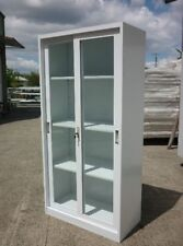 CLOSING DOWN NEW STEEL STATIONERY CABINET WITH SLIDING GLASS DOOR