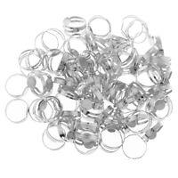 100x Adjustable Ring Blank Cabochon Beads Pad Base Tray DIY Findings Silver
