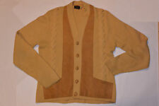 VINTAGE 1970s DOUBLE KNIT ACRYLIC CARDIGAN SWEATER! WITH SUEDE! POCKETS! M