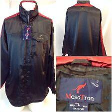 MesoTron Athletic Jacket Large Men Shiny Black Poly Mesh Lined Zip NWD F4408 M4U