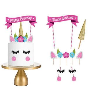2 x !! Geburtstagskuchen Mädchen Einhorn Deko Torte Verzierung Geburtstag Kuchen