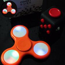Cool Orange LED Light Up Hand Tri Fidget Spinner And Fidget Cube Kids Toy ADHD