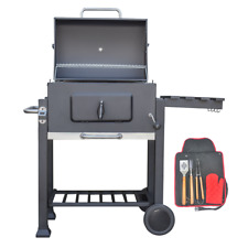 KCT CHARCOAL BBQ GRILL OUTDOOR PORTABLE BARBEQUE GARDEN SMOKER & THERMOMETER