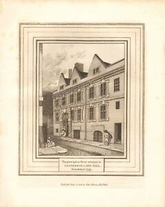 1800 ANTIQUE PRINT- ARCHITECTURE -LONDON - STREET ENTRANCE, LEATHERSELLERS HALL