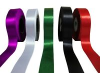 Double Sided Satin Ribbon 1'' 25mm Set of 5 Rolls 90yds total length Craft Art