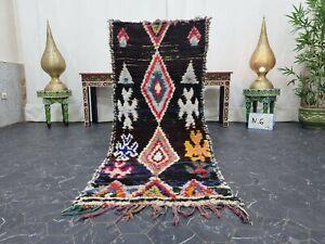 "Moroccan Handmade Vintage Rug 2'2""x5'7"" Berber Geometric Black Red Carpet"