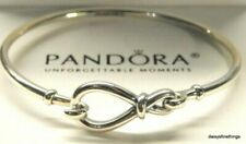 RARE Genuine Sterling Silver PANDORA INFINITY KNOT Bangle Bracelet 18cm